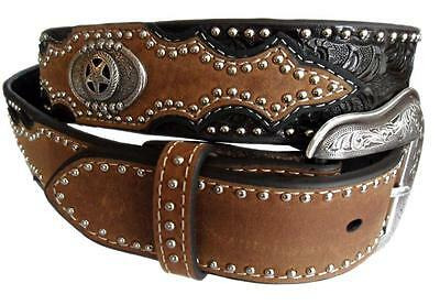 Nocona Western Belt Mens Leather Tooled Overlay Brown Black N2481202