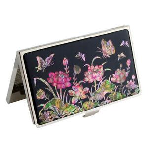 Porte Cartes De Visite Nacre Design Fleur Lotus
