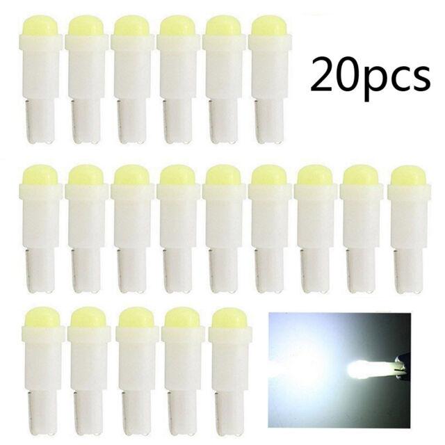 20Pcs T5 Auto Cob white LED lamps Dashboard Door Reading Gauge Light Bulbs New