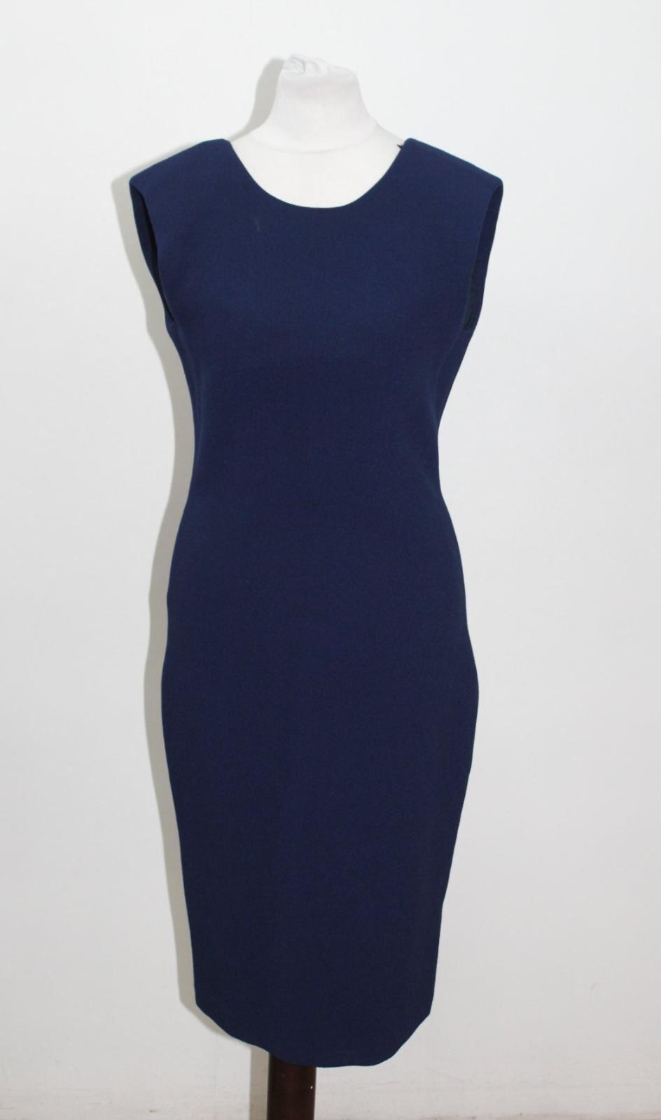 NEW SABA Ladies Navy Blau Sleeveless Crew Neck Pencil Hannah Dress UK8 EU36