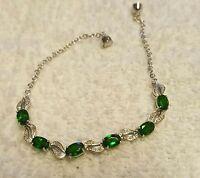 Russian Chrome Diopside/diamond Bracelet Platinum Over Sterling 7 3/4 In