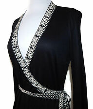 WOLFORD Black V-Neck Black & White Flourish Trim Tie Waist Dress Sz - S