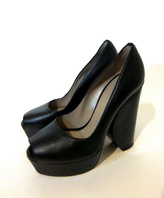 Calvin Klein Collection Ambrosia Blk Leather Platform Heels Women's Sz 37.5 7.5