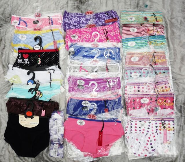 74 MIXED BRIEFS, SHORTS, HUGE VARIETY OF STYLES 8-20 WHOLESALE LINGERIE JOB LOT