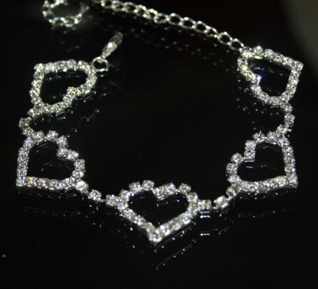 Rhinestone Austrian Crystal Bracelet Bridal Prom Pageant Hearts Wedding Jewelry