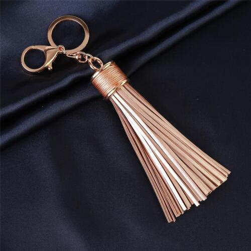 HOT Alloy Gold Leather Tassel Keychain Key Ring For Handbag Gift Cell Phone SS