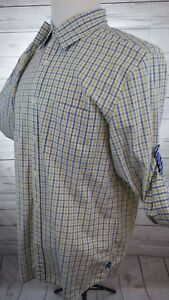 Express-Men-039-s-Blue-and-Yellow-Plaid-Button-Front-Shirt-Size-Large