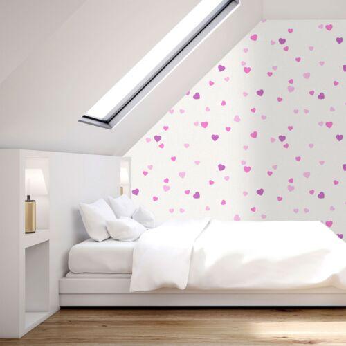 Love Hearts Glitter Wallpaper Textured Vinyl White Pink Purple Paste The Wall