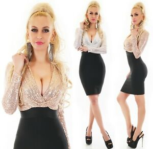 Damen Silvester Cocktail Kleid Glitzer Pailletten Langarm V Ausschnitt S M L Ebay