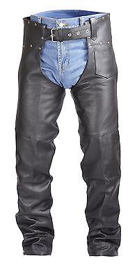 Studded Motorcycle Biker Cowhide Leather Chaps Pants Black MC1
