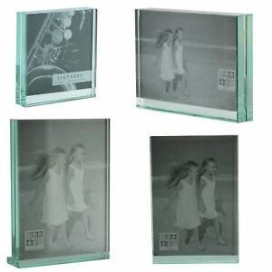 Sixtrees Gt602 Heavy Solid Square Cut Glass Photo Frame 4x4 8x6