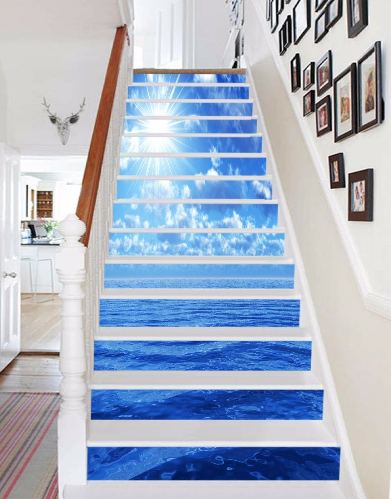 3D bluee Sea 109 Stairs Risers Decoration Photo Mural Vinyl Decal Wallpaper US