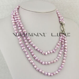"""18-21"""" 6-8mm Gray-Pink Baroque 3Row Freshwater Pearl Necklace Pearl Jewelry UK"""