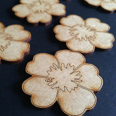 20mm MDF FLOWERS ETCHED x 50 LASER CUT MDF WOODEN SHAPE CRAFTS FAMILY SCRAPBOOK