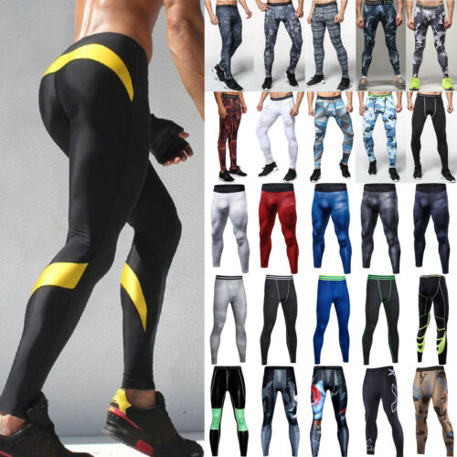 Mens Fitness Sports Jogger Tight Compression Thin Layer Pants Leggings Trousers