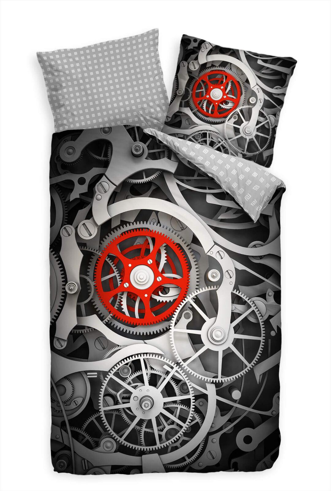3D Makro Uhrwerk Rot Silber Bettwäsche Set 135x200 cm + 80x80cm  Atmungsaktiv