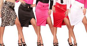 Gonna-longuette-donna-spacco-laterale-cintura-tubo-sexy-elegante-nuova