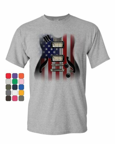 American Flag Guitar T-Shirt Rock and Roll Music Art 4th of July Mens Tee Shirt