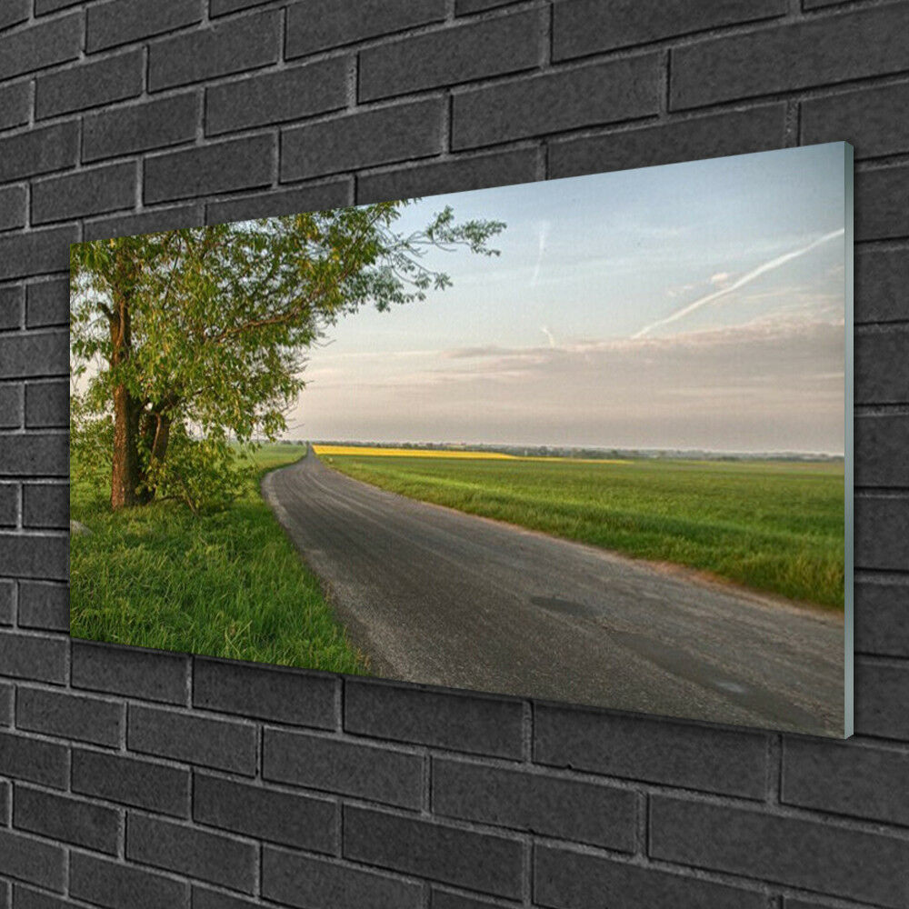Tableau sur verre Image Impression 100x50 Paysage Rue Arbre Herbe