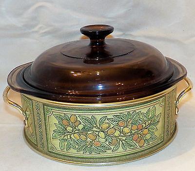 1981 Pyrex Fireside Originals Teleflora Pyrex Amber 024 Lid 624 Casserole Dish