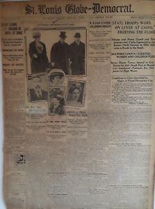1913 Vintage Newspaper J P Morgan Dies-Cairo Fights Flood-Women Police-191