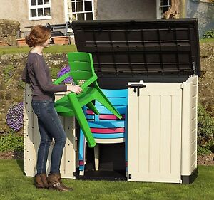 keter store it out max xl plastic storage unit shed garden tool outdoor patio 2 ebay. Black Bedroom Furniture Sets. Home Design Ideas