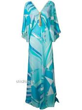 EMILIO PUCCI Print Blue Kaftan Coverup Maxi Dress Gown Uk8-10 US4-6 New
