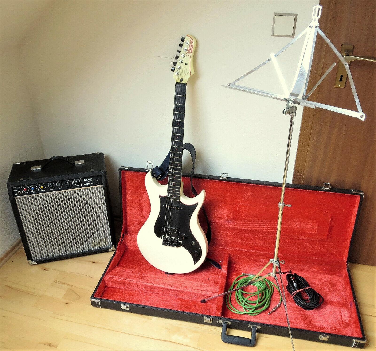 E-Gitarre Vantage Avenger 70-80er cremw.Kunstst +Verstärk.,Koffer,Notenst.,Kabel
