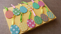 Set of 3 Colourful Wooden Easter Egg Hanging Decorations Hunt Tree Retro Vintage
