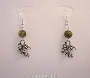 Dragon charm earrings with dragon vein agate green gemstone beads fantasy gift