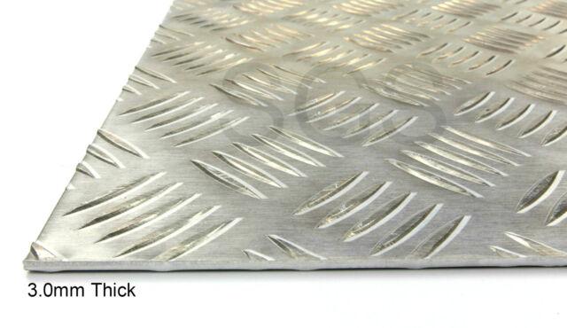 1.5 2.0 or 3.0mm Aluminium Chequer Plate 5 Bar Tread Plate Sheet - 23 Sizes