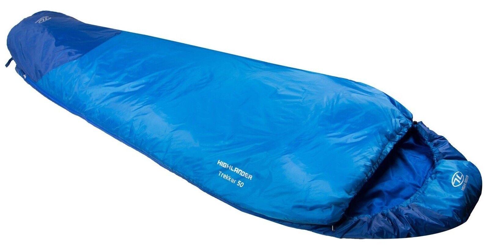Highlander Trekker 50 Sleeping Bag Superlite Mummy 1 Season bluee + Mosquito Net