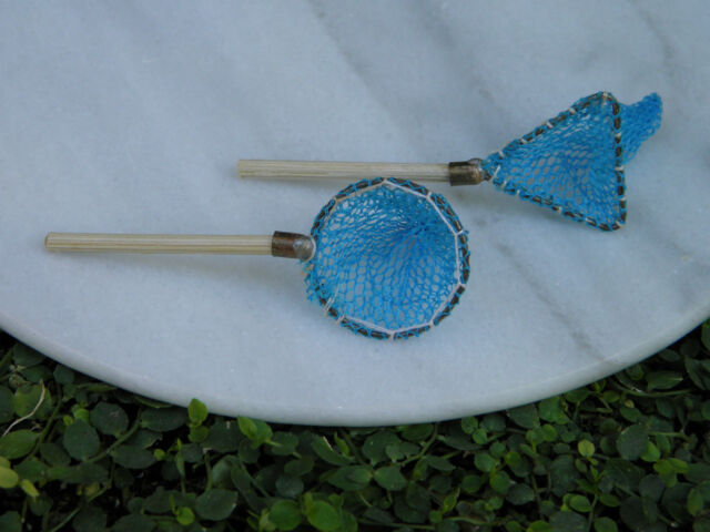 Miniature Dollhouse FAIRY GARDEN Accessories ~ Set of 2 Fishing Fish Nets ~ NEW