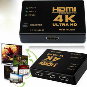 Remote Auto Switch 1080P HD US 5 Port HDMI Splitter Switcher 3 In 1 Out Hub Box