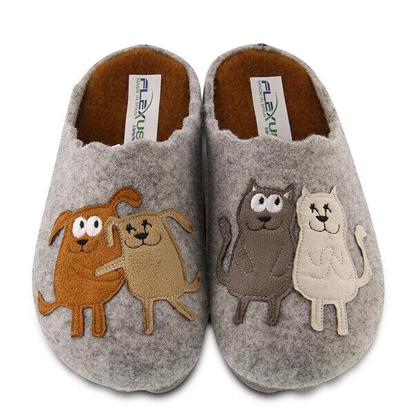Flexus By Spring Step PetLove Indoor/outdoor wool slipper Dog+Cats Gray EUR 36