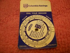 Image Is Loading Vintage Columbia Savings Dial Your Mileage Calculator Gas