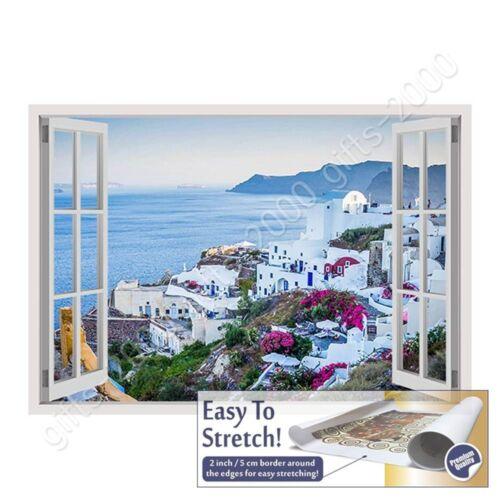 Wall art artwork Santorini Greece Sunset by Fake 3D WindowCanvas Rolled