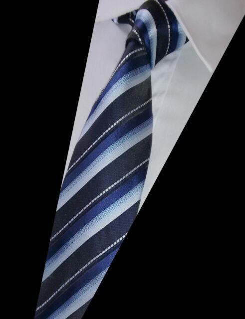 GIFTS FOR MEN Classic Mens Multi Stripe Silk Striped Necktie Work Tie Blue Black