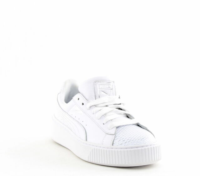 PUMA Womens Basket Platform Ocean Leather Low Top Lace up White Size 10.0  2689