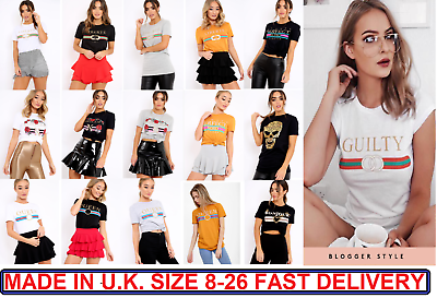 Short Sleeve Yves Saint Love Graphic Slogan Printed T Shirt Dress Tee Tops RRP15