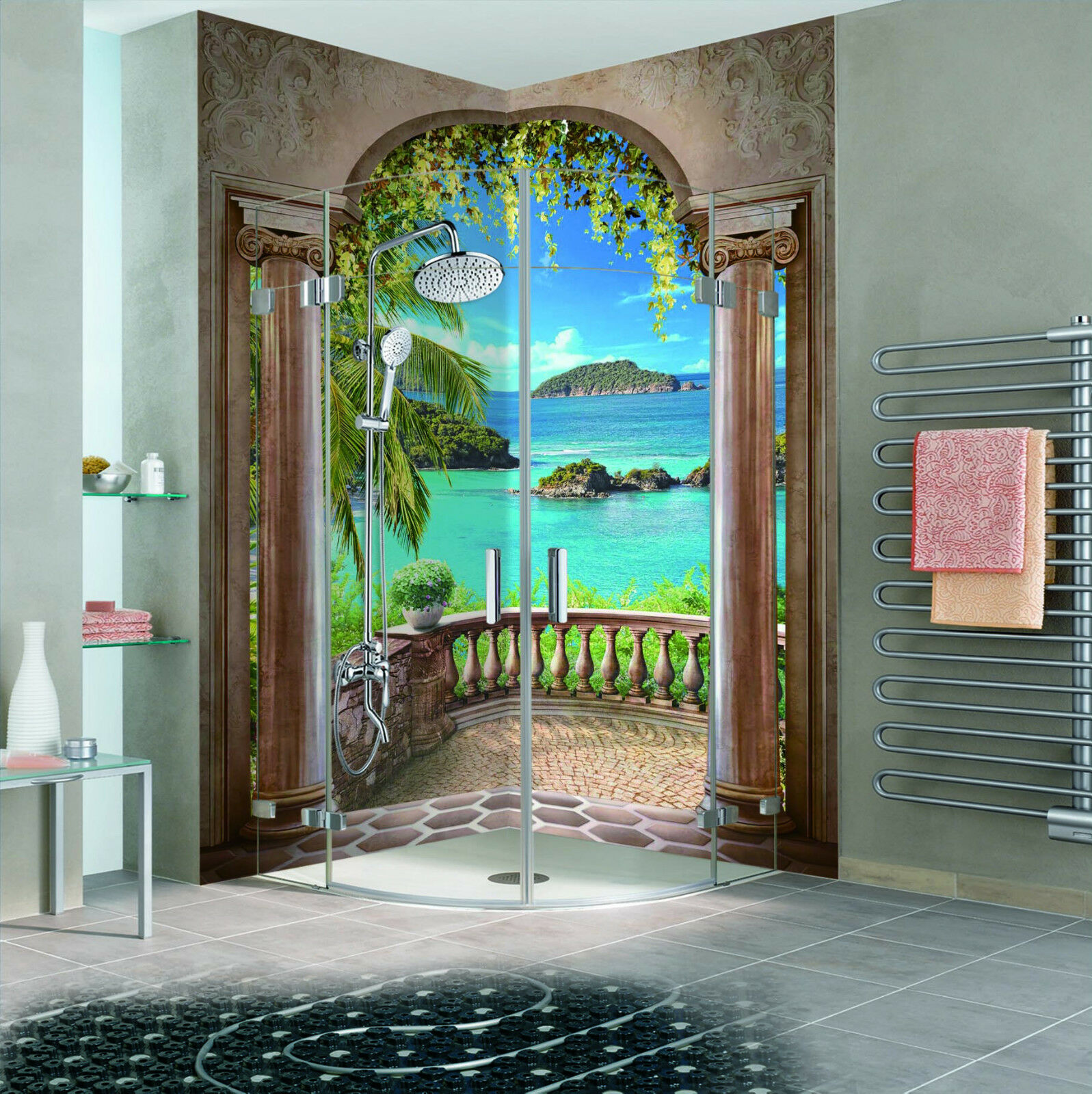 3D Balcony Sea View 133 WallPaper Bathroom Print Decal Wall Deco AJ WALLPAPER CA