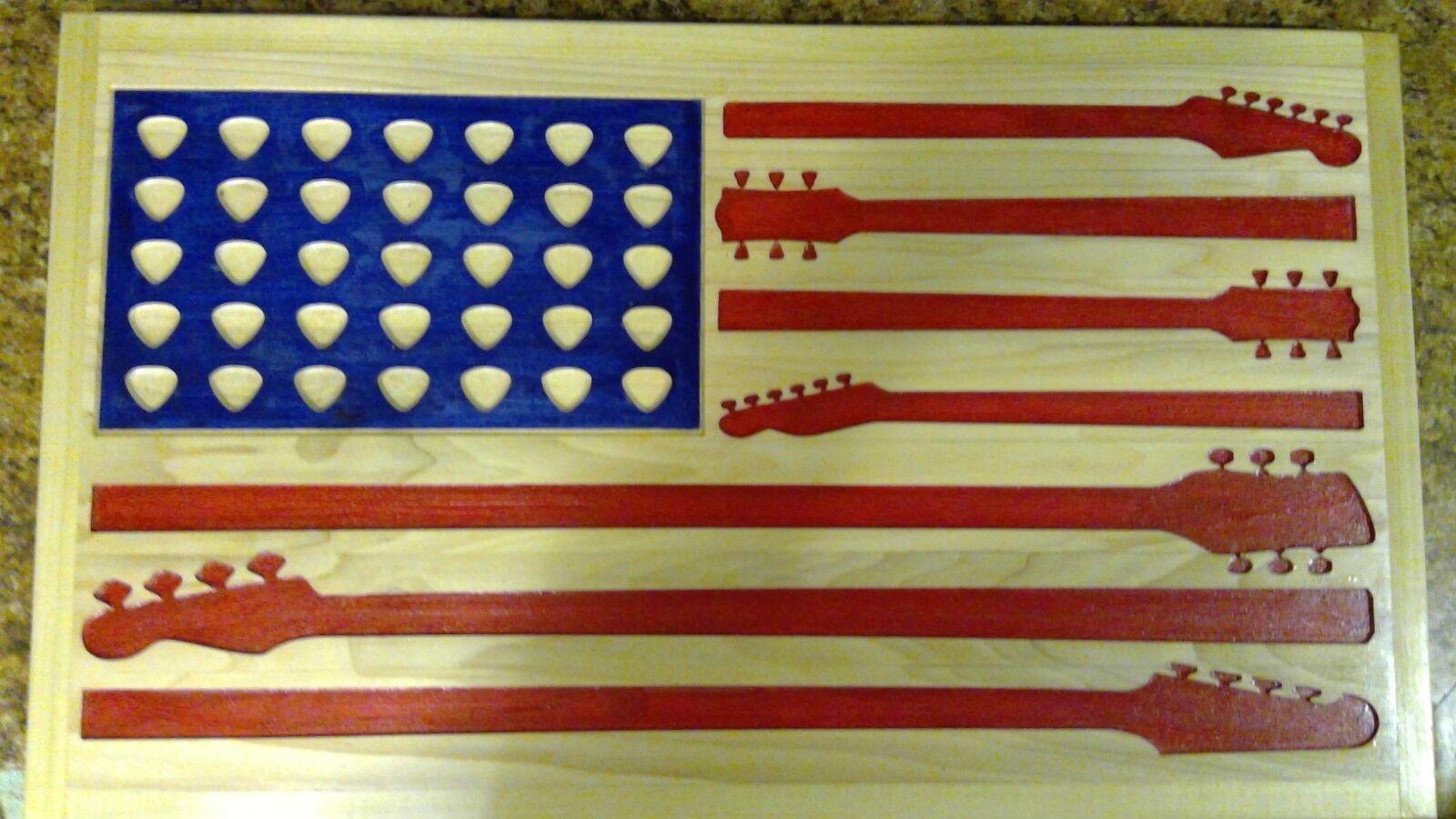 Guitar Flag American Wooden Flag,Rustic Flag carved hardwood 15 x26