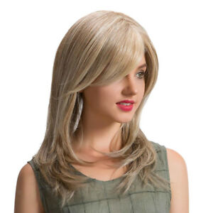 Light-Blonde-Women-Lady-Medium-Straight-Synthetic-Hair-Wigs-with-Cap-18inch