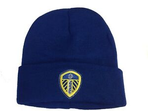 Leeds United AFC Official Football Gift Adults Knitted Bronx Beanie Hat Blue d7d51486c