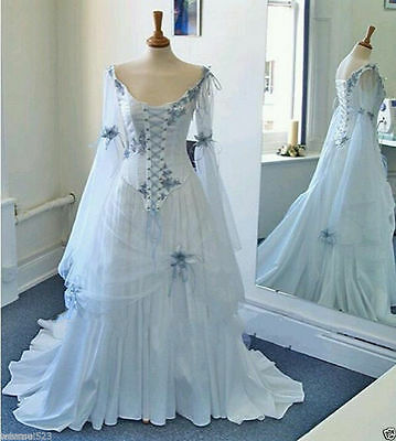White Pale Blue Celtic Wedding Dress Medieval Bridal Gowns Corset Bell Sleeve