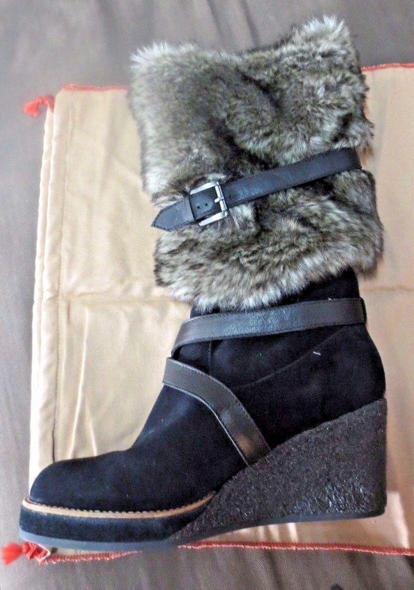 No Name Mittelhoch Stiefel Leder Velours + Fourcompense 7cm Neu Wert 210E