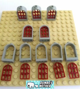 Lego Red Window 1x2x2 2//3 Rounded Top w// Black Lattice Diamond Pane Castle X10