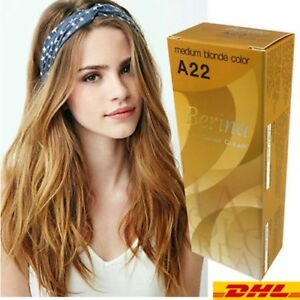 1 X Berina Permanent A 22 Color New Hair Dye Cream Medium Blonde