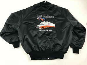 Vtg-HOLLAND-Trucking-BLACK-Satin-Trucker-JACKET-Vicki-DeLONG-Teamsters-USA-Sz-L