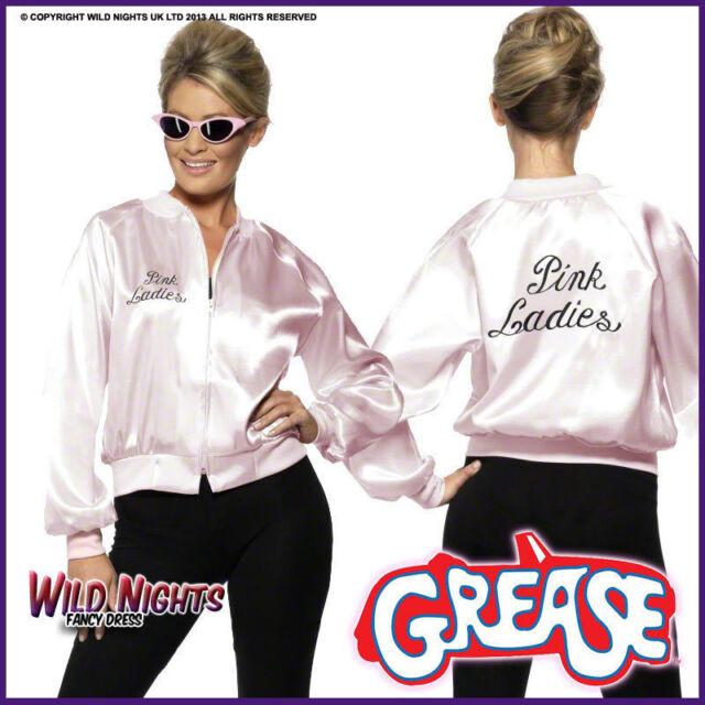 0ecfef4702c45 Womens Grease Pink Ladies Jacket Fancy Dress Costume 50s Hen Party ...